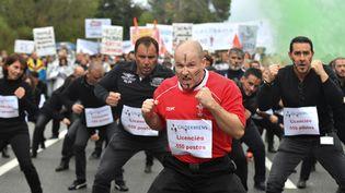 Les salariés du laboratoireGalderma entamentun haka contre NestléàSophia Antipolis(Alpes-Maritimes), le 9 novembre 2017 (YANN COATSALIOU / AFP)