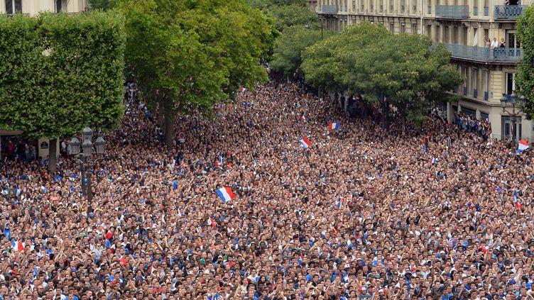 La foule des supporters français massés devant l'hôtel de ville de Paris, pour voir le quart de finale de la Coupe du monde France-Allemagne, le 4 juillet 2014. (MIGUEL MEDINA / AFP)