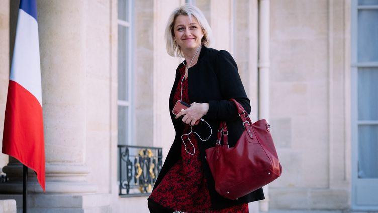 Barbara Pompili,le 29 mars 2019, sur les marches du palais de l'Elysée, à Paris. (MARIE MAGNIN / HANS LUCAS / AFP)