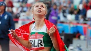 Krystsina Tsimanouskaya après avoir couru le 100 m aux Jeux Européens de 2019 à Minsk. (/ MaxPPP)