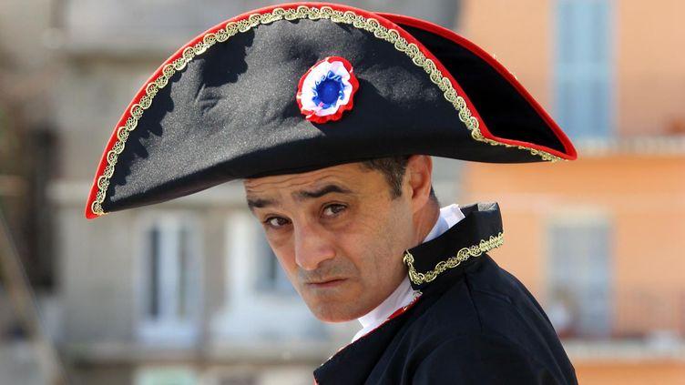 EricFraticelli dans la peau de Napoléon pour un film russe, en 2011. (GERARD BALDOCCHI / MAXPPP)