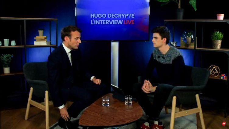 "Emmanuel Macron lors de sa participation à la chaîne YouTube ""HugoDécrypte"", vendredi 24 mai 2019. (HO / CHAINE YOUTUBE HUGODECRYPTE / AFP)"