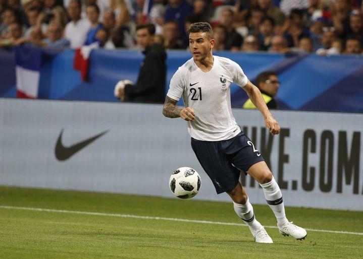 Lucas Hernandez, latéral des Bleus, lors du match amical France-Italie à Nice (Alpes-Maritimes), le 1er juin 2018. (LORIS ROSELLI / NURPHOTO)