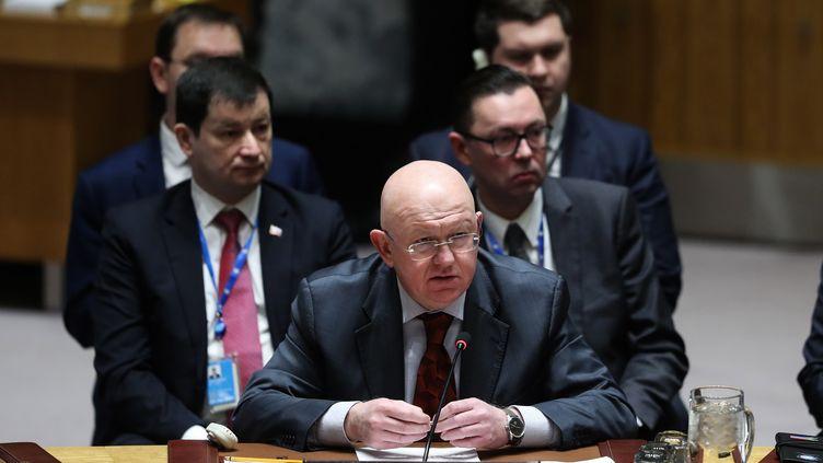 Vassily Nebenzia, ambassadeur de la Russie au Conseil de sécurité des Nations unies, lors d'une réunion de celui-ci à New York, le 26 janvier 2019. (ATILGAN OZDIL / AFP)