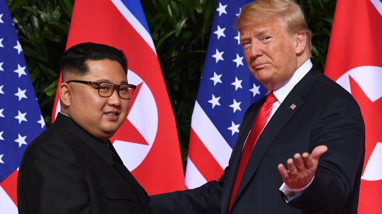 Donald Trump etKim Jong-un lors de leur rencontre historique le 12 juin 2018 à Singapour. (SAUL LOEB / AFP)