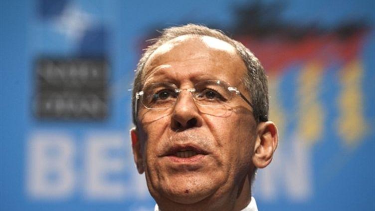 Le ministre russe des Affaires étrangères, Lavrov (ici à berlin le 15 avril 2011) (AFP/JOHN MACDOUGALL)