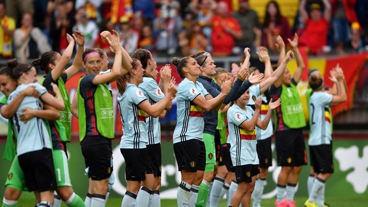 Les joueuses belges après leur victoire contre la Norvège (DANIEL MIHAILESCU / AFP)