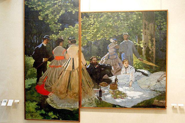 """Les deux parties du """"Déjeuner sur l'herbe """" de Monet exposées au musée d'Orsay à Paris  (Tous droits réservés par WVJazzman)"""