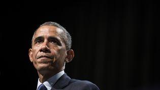 Barack Obama, à Evanston (Illinois), le 2 octobre 2014. (BRENDAN SMIALOWSKI / AFP)