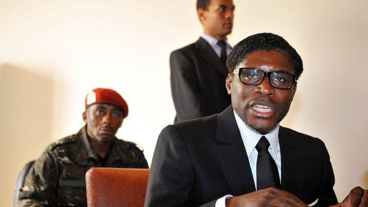 """Teodoro """"Teodorin"""" Nguema Obiang Mangue, ministre de l'Agriculture équato-guinéen et fils du président, le 24 janvier 2012 dans son pays. (ABDELHAK SENNA / AFP)"""