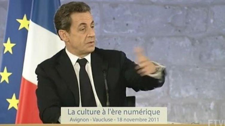 Le président Nicolas Sarkozy à Avignon, vendredi 18 novembre 2011. (FTVi)