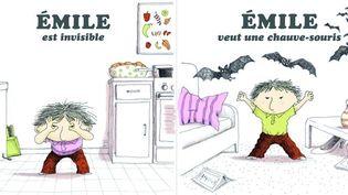 Emile est invisible et Emile veut une chauve-souris, de Vincent Cuvellier  (Ronan Badel / Gallimard Jeunesse)