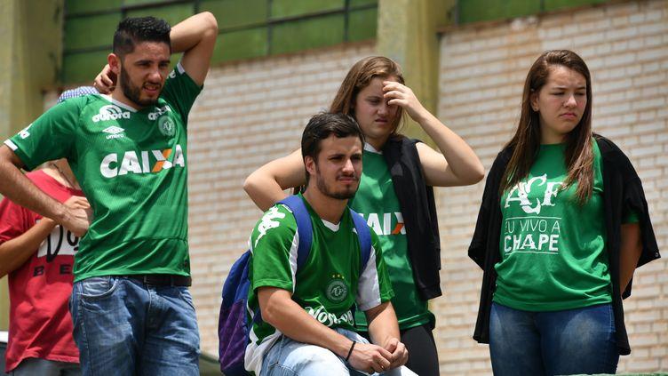 Les supporters attristés du club brésilien de Chapecoense. (NELSON ALMEIDA / AFP)