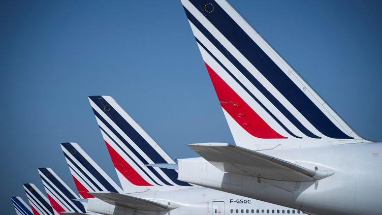Des avions Air France sur le tarmac de Roissy. (JOEL SAGET / AFP)