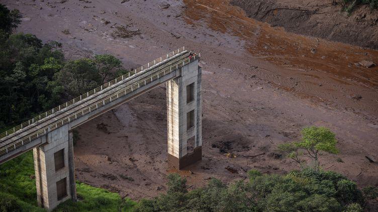 Une vue aérienne montrant les dégâts causés par la rupture d'un barrage minier de la société Vale, près de la ville deBrumadinho (Etat du Minas Gerais, Brésil), le 25 janvier 2019. (DOUGLAS MAGNO / AFP)