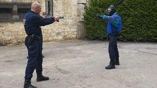 Un policier s'entraîne au maniement d'un Taser, à Andilly (Val-d'Oise). (ONLY FRANCE / AFP)