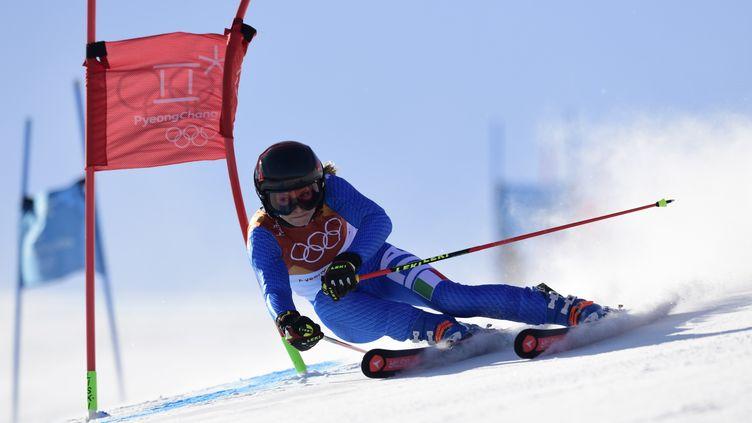 Manuela Moelgg lors de la première manche du Géant des JO de PyeongChang (JAVIER SORIANO / AFP)