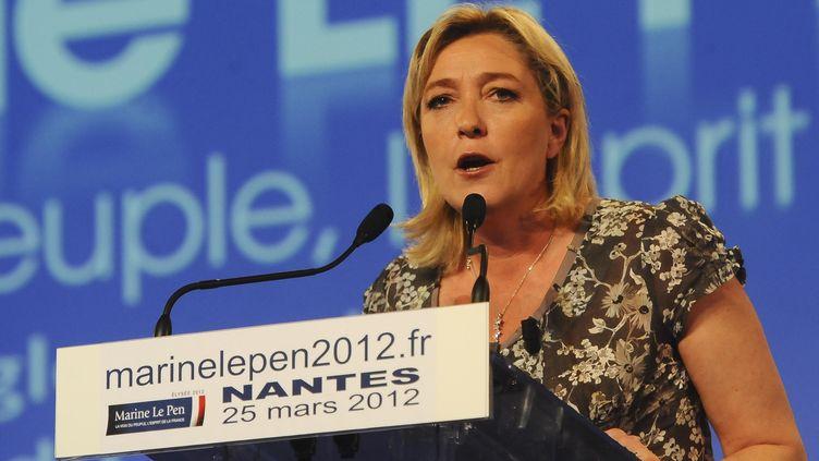 Marine Le Pen à Bouguenais, près de Nantes (Loire-Atlantique), le 25 mars 2012. (CITIZENSIDE.COM / AFP)