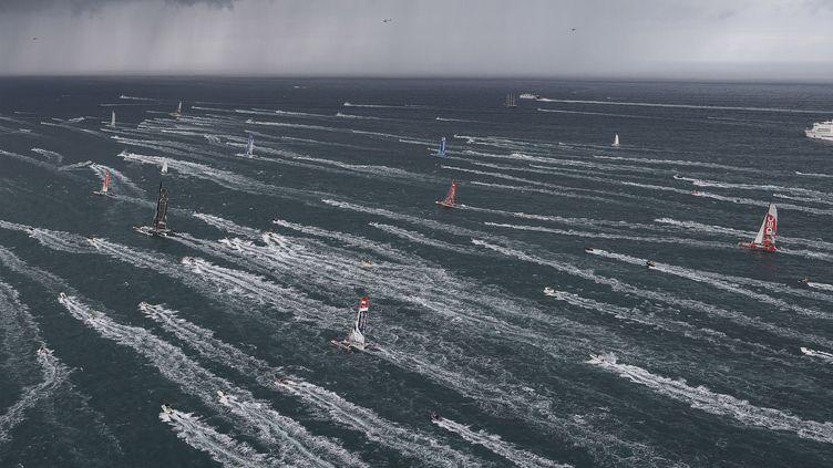 Les 91 concurrents de la Route du rhum s'élancent, depuis Saint-Malo, le 2 novembre 2014. (JEAN MARIE LIOT / DPPI MEDIA / AFP)
