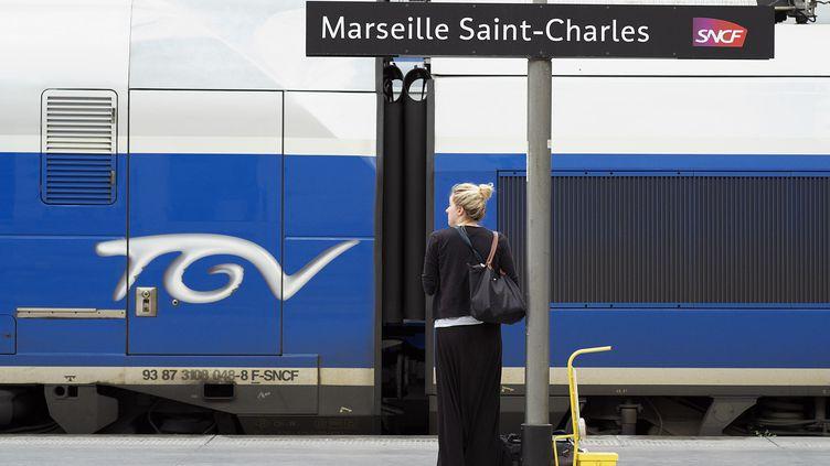 Une usagère attend un train à la gare SNCF de Marseille Saint-Charles au huitième jour de la grève, le 18 juin 2014. (BORIS HORVAT / AFP)