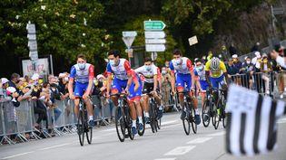 La présentation de l'équipe Groupama-FDJ à Brest, le 24 juin, avant le Grand départ du Tour de France 2021. (NICOLAS CREACH / MAXPPP)