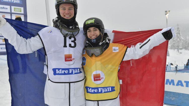 Perrine Laffont et Benjamin Cavet à Idre Fjäll, le 12 décembre 2020. (NISSE SCHMIDT / TT NEWS AGENCY)