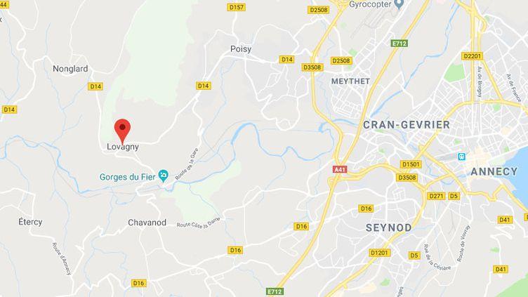L'enfant jouaitau bord de la rivière le Fier à Lovagny. (GOOGLE MAPS)