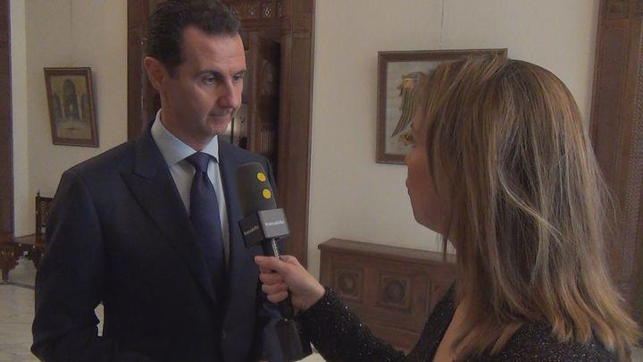 Pour la première fois depuis la reprise d'Alep par le régime de Damas, le président syrien a accordé un entretien à trois médias français dont franceinfo (RADIO FRANCE / Gilles Gallinaro)