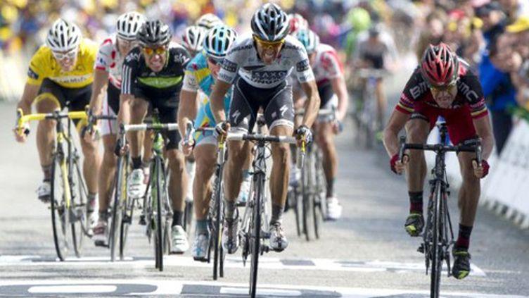 Contador dans le sprint à Mûr-de-Bretagne (PASCAL PAVANI / AFP)