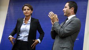 Passation de pouvoirs au ministère de l'Education nationale entreNajat Vallaud-Belkacem et Benoit Hamon, le 27 août 2014 (THOMAS SAMSON / AFP)
