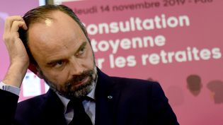 Edouard Philippe lors de la consultation sur les retraites. (GAIZKA IROZ / AFP)