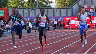 L'Américain Trayvon Bromell a remporté le 100m du meeting deLigue de diamant organisé à Gateshead, mardi 13 juillet 2021. (SCOTT HEPPELL / AFP)