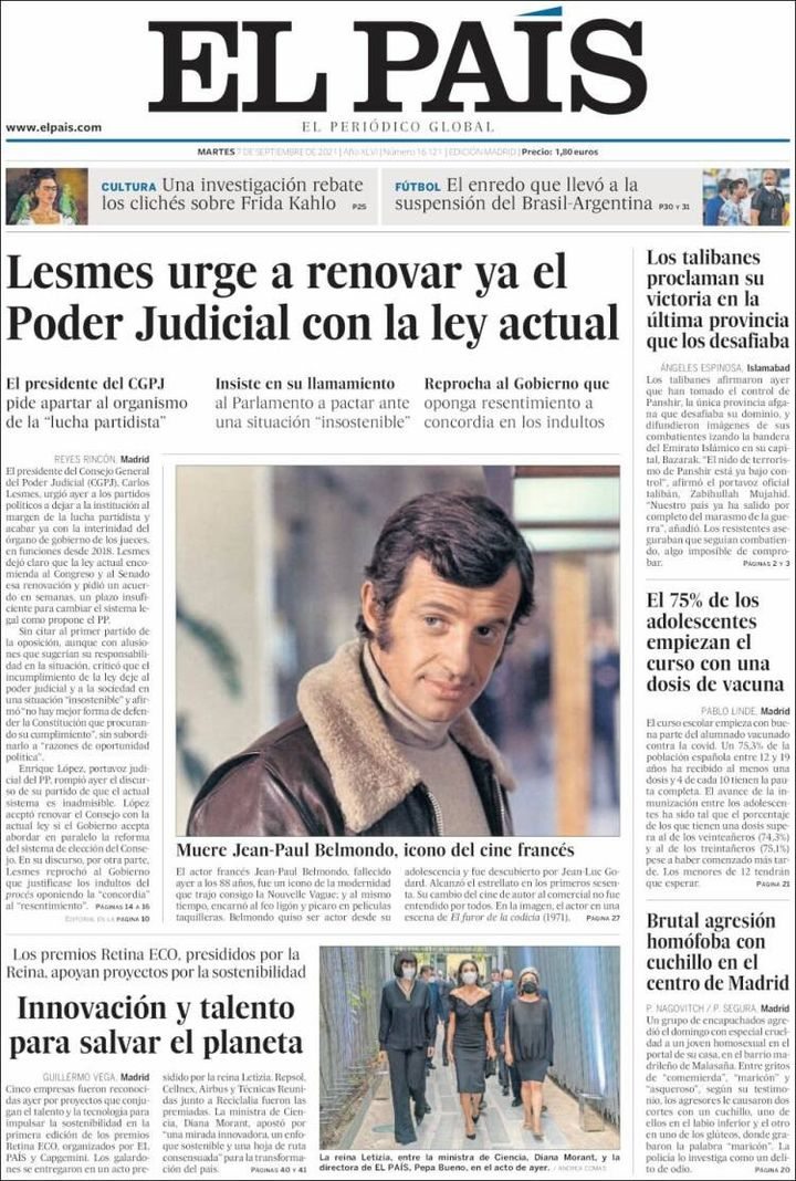 """La une du journal """"El Pais"""", le 7 septembre 2021. (EL PAIS)"""