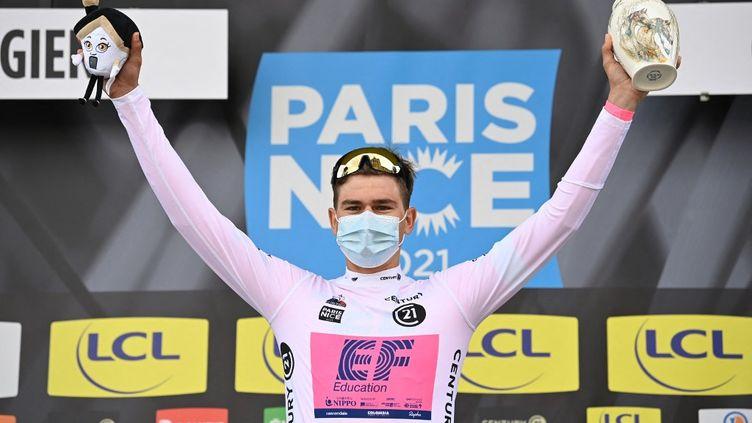 Le Suisse Stefan Bissegger, vainqueur du contre-la-montre, troisième étape de Paris-Nice, mardi 9 mars 2021.  (DAVID STOCKMAN / BELGA MAG)