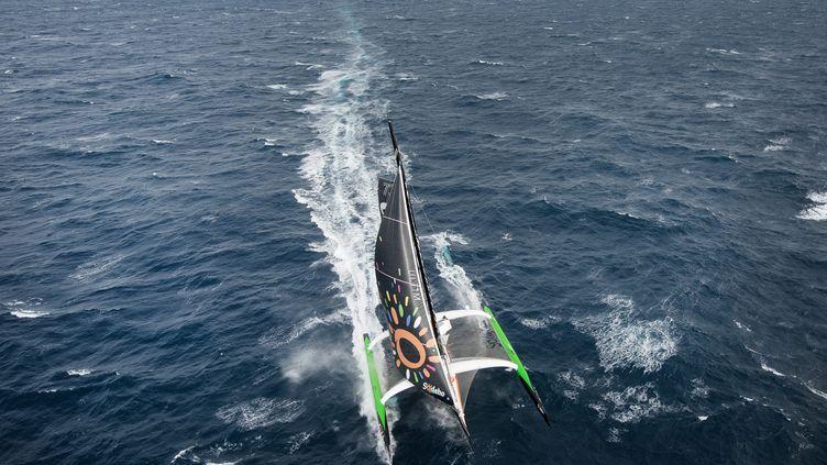 Thomas Coville, le skipper sur Sodebo Ultim', dont certains pensaient qu'ils avait gagné le Vendée Globe ! (JEAN-SEBASTIEN EVRARD / AFP)