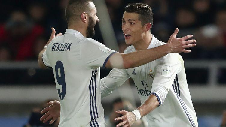 Cristiano Ronaldo et Karim Benzema (Real Madrid) (BEHROUZ MEHRI / AFP)