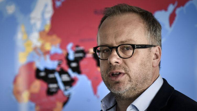 Le secrétaire général de Reporters sans frontières, Christophe Deloire, en avril 2017, à Paris. (PHILIPPE LOPEZ / AFP)