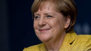 La chancelière allemande Angela Merkel lors d'un meeting de campagne à Domplatz, en Allemagne, le 18 septembre 2017. (SVEN HOPPE / DPA)
