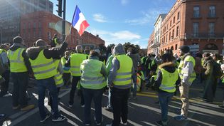 """Des manifestants du mouvement des """"gilets jaunes"""", le 24 novembre 2018 à Toulouse (Haute-Garonne). (PASCAL PAVANI / AFP)"""