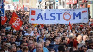 Des manifestants contre la fermeture du site d'Alstom à Belfort (Territoire de Belfort), le 24 septembre 2016. (SEBASTIEN BOZON / AFP)