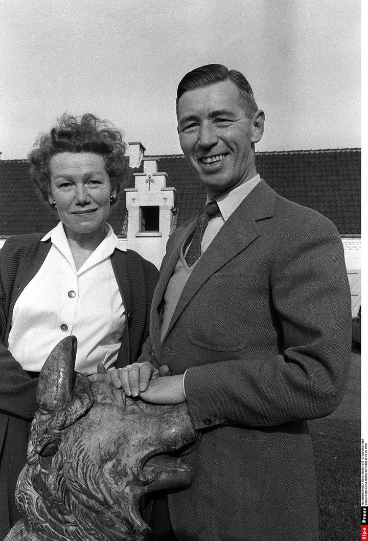 Georges Remi, dit Hergé, en compagnie de son épouse Germaine. (DALMAS/SIPA)