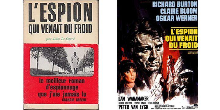"""La couverture du livre de John Le Carré """"L'espion qui venait du froid"""" et l'affiche du film avec Richard Burton qui en fut adapté. (JOHN LE CARRE)"""