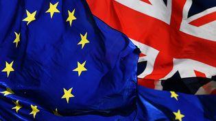 Les drapeaux européens et britannique.Brexit : en route vers un accord. (BEN STANSALL / AFP)