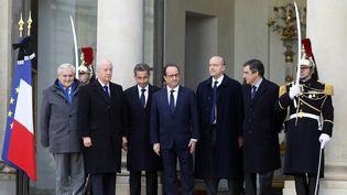 Nicolas Sarkozy, François Hollande etAlain Juppé, le 11 janvier 2015 à l'Elysée. (MATTHIEU ALEXANDRE / AFP)