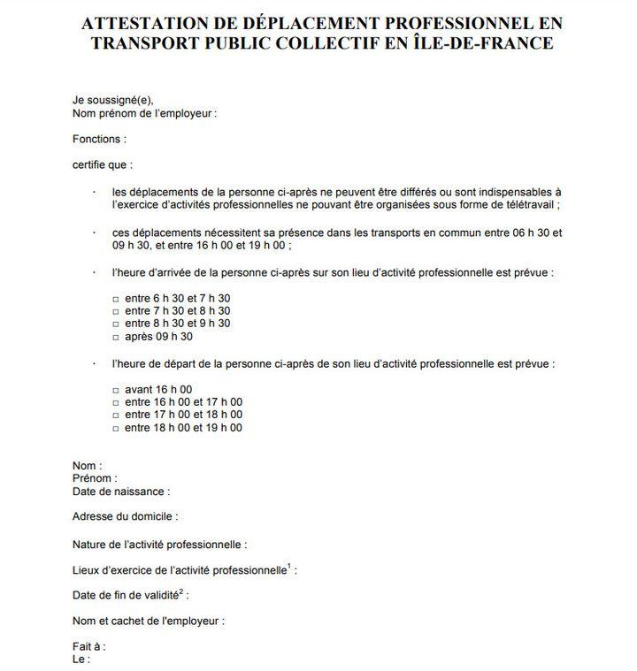 L'attestation à faire remplir par l'employeur pour emprunter les transports en Ile-de-France aux heures de pointe. (PREFECTURE ILE DE FRANCE)