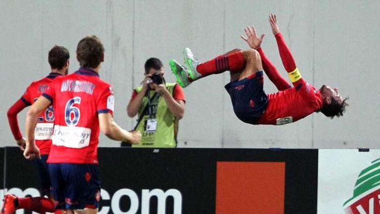 Roderic Filippi, capitaine du Gazelec Ajaccio, lors de la victoire des siens face à Nice. (PASCAL POCHARD CASABIANCA / AFP)