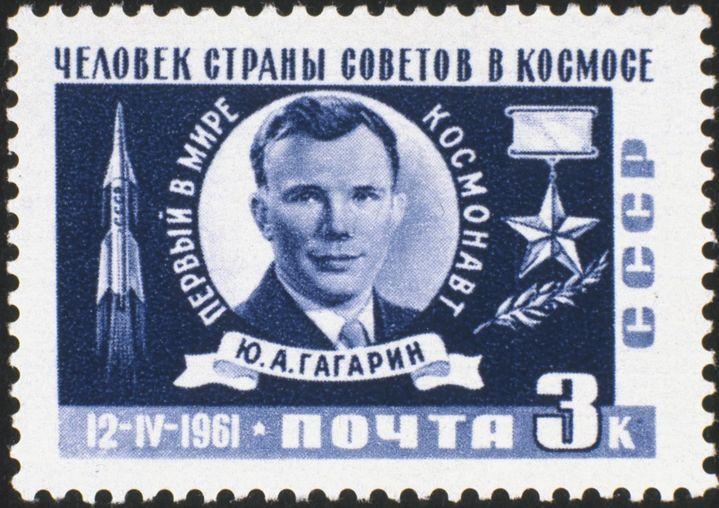 Timbre russe édité en 1961 à l'éfigie de Youri Gagarine. (SPUTNIK)