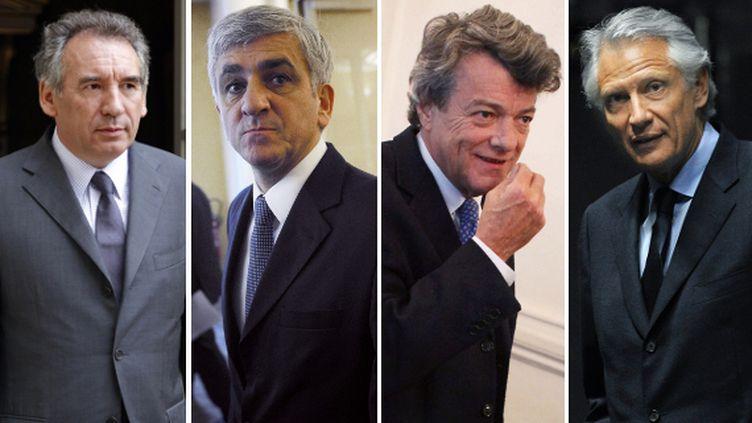 François Bayrou (MoDem), Hervé Morin (Nouveau Centre), Jean-Louis Borloo (Parti radical) et Dominique de Villepin (République solidaire). (AFP PHOTO / MAXPPP / Montage FTVi)
