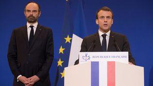 Edouard Philippe et Emmanuel Macron à Paris, le 23 mars 2018. (PHILIPPE WOJAZER / POOL)