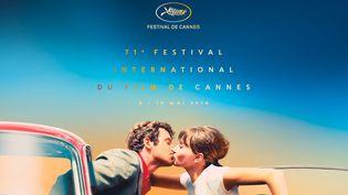 """L'affiche de la 71e édition du festival de Cannes arbore le baiser de Jean-Paul Belmondo et Anna Karina dans le film de Jean-Luc Godard """"Pierrot le fou""""."""